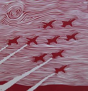 Red Arrows Linocut