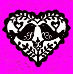 Love Birds pink black and white copy 500x500
