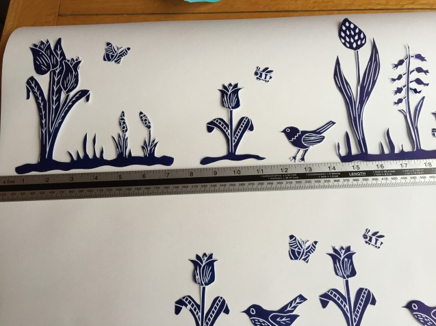 Bird and garden lino