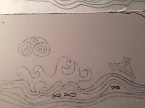 sea and boat lino