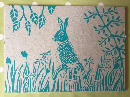 Hare on cardboard