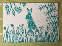 Hare on postcard