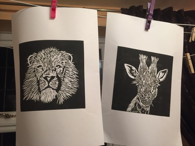 lion and giraffe lino drying